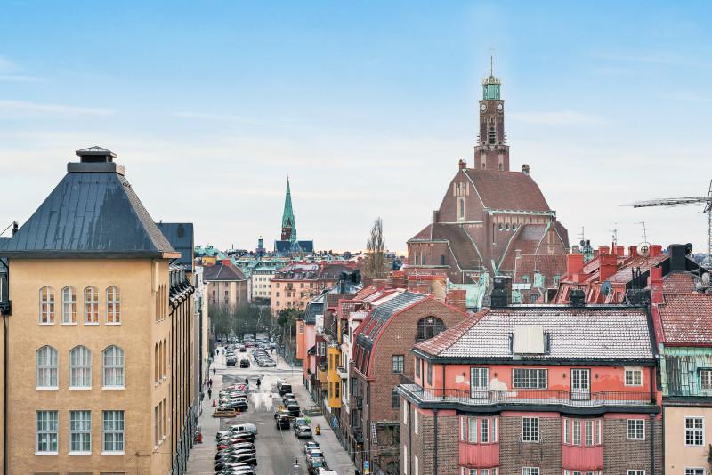 3:a och 4:a vid Östra Station, utsikt mot Lärkstaden